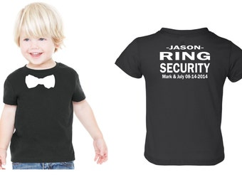 Personalized Ring security shirt Ring Bearer tshirt bowtie tee with NAME