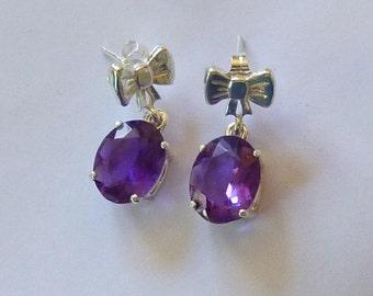11mmx 9mm oval cut 5 ctw Brazilian amethyst sterling silver post dangle earrings