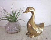 Brass Duck - Large Paperweight - Collectible Animal Figurine