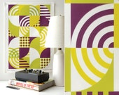 Mod Tea Towel - Sixties style kitchen decor, modernist textiles, and modern holiday party.