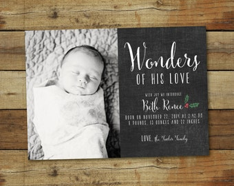 Christmas birth announcement, Wonders of His Love, chalkboard style Christmas card and baby announcement