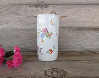 Vintage Shabby Cottage Chic Container, Glass Canister