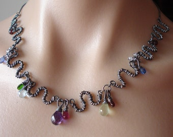 Oxidized Multicolor necklace-- amethyst,topaz, ruby,garnet, kyanite, sterling silver, wire wrapped oxidized
