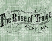 Digital Download Rose of Tralee Perfume label, Irish Antique Illustration, Vintage drawing, digi stamp, digis