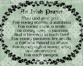Digital Download Irish Prayer, Irish Verse, Saying with Shamrock oval frame, St Patricks Day digital stamp, Typography, Digital Transfer