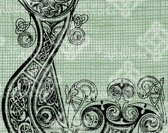 Digital Download Celtic Illumination Letter L, digi stamp, digis, St Patricks Day, Ornate digital collage sheet, Animal Inspired