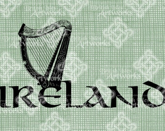 Digital Download Ireland Harp, digi stamp, digital stamp, Antique, Irish St Patrick's Day, Digital Transfer Typography, transparent png