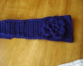 Handmade Crochet Navy Headband, Earwarmer, Navy  Flower appliqued, Accessories, Women/Teens, Fall Fashion, Winter, Gifts