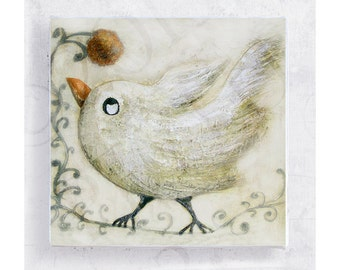 Bird Art - White Bird Print - White Bird with Flower on 5x5 Canvas Print Art Block - I Want - Nursery Wall Decor -  Children's Room Decor