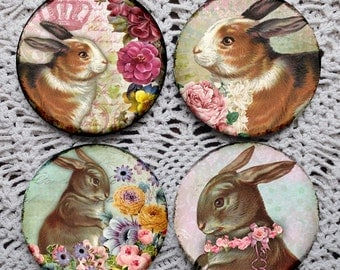 Funny Bunnies -- Bunny Rabbit Mousepad Coaster Set