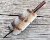 Owl Feather Leather Barrette Or Hair Stick