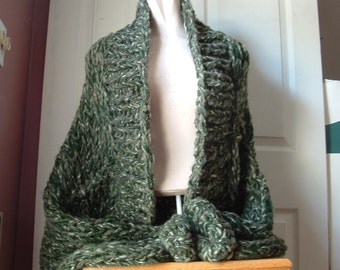 Shrug super chunky knit shawl collar sweater cardigan  long sleeves large extra large plus sized women in green tweed