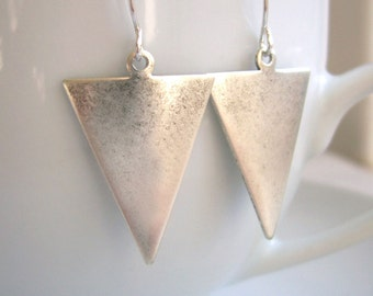 Silver Spears earrings - silver plated triangles - handmade