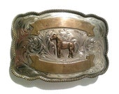 Horse and Scroll Vintage Handmade Belt Buckle