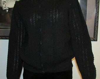 Donwood Black Sweet 50's Wool Black Sweater True Vintage
