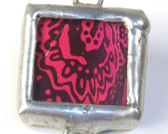 SALE! Pod Chocolate Bloom- Handmade soldered charm mixed-media finding with recycled floral design in  chocolate brown and magenta pink