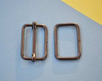 FREE SHIPPING--10 sets, 1 1/4 inch Gunmetal Strap Sliders and 1 1/4 inch Gunmetal Rectangle Rings