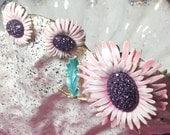 Vintage BSK 1960s Brooch & Earrings Set Goldtone Pink Green Enamel Daisy Flowers Amethyst Purple Crystals - Free US Shipping