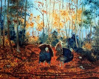 Fall Turkeys Original Maine Nature Oil Painting Art