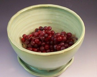 Pottery Berry Bowl/Berry Basket With Attached Saucer in French Country Green