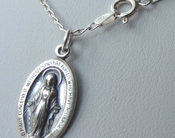 Sterling Silver Virgin Mary Medal Necklace, First Communion Necklace, Confirmation Necklace, Baptism Necklace, Christering Kids Necklace