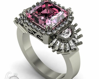 Pink Sapphire Engagement Ring, Diamond Halo Engagement Ring, 2 carat Engagement Ring, Statement Ring, Diamond Engagement Ring - LS3721