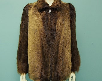 Vintage Beaver Fur Coat Rich Chocolate Brown Bomber Jacket