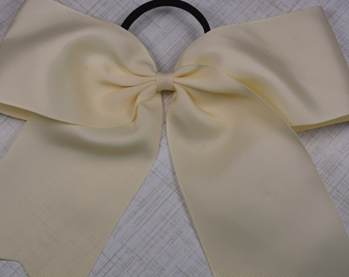 Ivory Bow - 8 in. Cheer Bow on Pony- 0 - Cheerleading Practice Games  - Girl Hair Bows