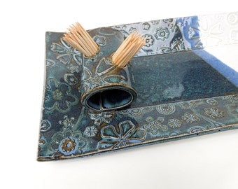 Slate Blue Green and White Textured Floral Handmade Ceramic Pottery Rectangular Appetizer Serving Toothpick Plate Tray