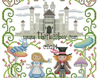Alice and the Mad Hatter Cross Stitch Pattern