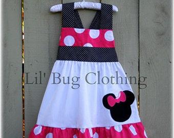 Custom Boutique Girl Hot Pink Minnie Mouse Jumbo Dot Jumper Dress