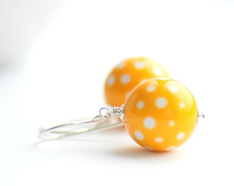 Yellow Earrings, Yellow and White, Polka Dot Earrings, Summer Jewerly, Lucite Earrings, Retro Earrings