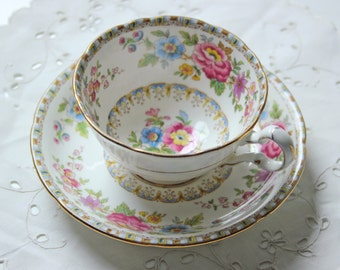 pink roses bone china cup & saucer set by Crafton China