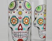 Sugar Skulls - Hand Painted Halloween Glass - Día de Muertos - Day of the Dead Glass