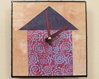 House Clock, Contemporary Clock, Mauve, Functional Art, Modern Clock, Purple,Wall Clock