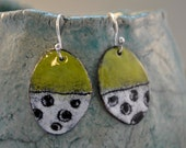 Olive and White Torch Fired Enamel Earrings