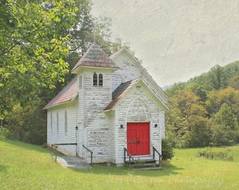 Old White Church Photography St Matthews Country Church North Carolina Photos Cottage Chic Rustic Fall NC Art Print Green White Home Decor