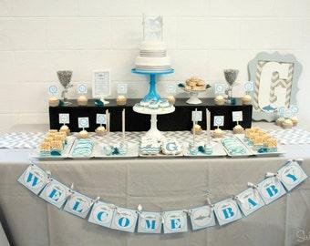 Shark Baby Shower Printables | Shark Bridal Shower Invitation | Party Printable | Party Goods | Shark Theme | Chevron Blue Gray | Digital