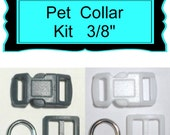 """20 SETS - 3/8"""" - Small DOG Collar Hardware Kit - Black or White - with or with out Keepers"""