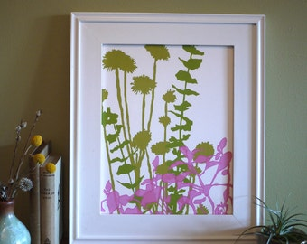 11x14 botanical silhouette print - Life Forms: Spring - Ready to frame