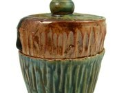 Tiny Trinket Box Ring Keeper - Ceramic Box -  Hand Made Lidded Treasurer Jar - Wheel Thrown Stoneware Pottery - Ready to Ship