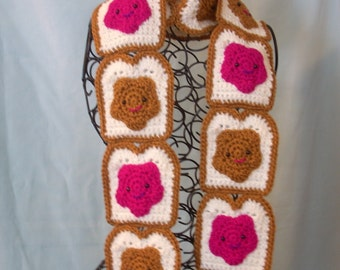Toast Scarf Crochet Scarf Peanut Butter Strawberry Jelly face Toast Scarf  Valentine Foodie Food Yummy Tasty Kawaii Sweet Made To Order