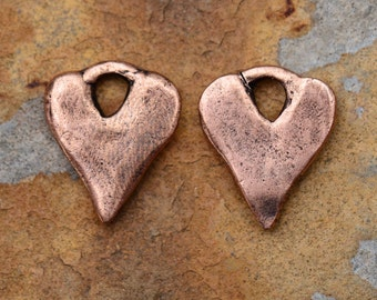 2 Antique Copper Rustic Heart Charms 16x13mm LOW SHIPPING