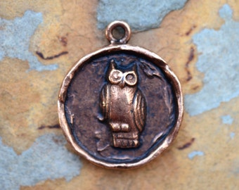 1 Antique Copper Owl Charm 24x20mm Nunn Designs