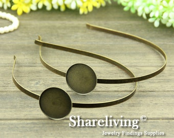 4pcs Antique Bronze Head Band With 20mm / 25mm / 30mm Cameo Setting For Hair Accessories