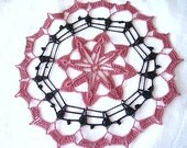 Pink Raspberry and Black Colored Round Hand Crocheted Doily 9.5 inches