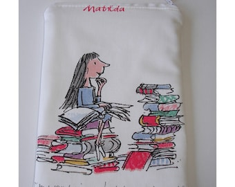 """Kindle 6 Wi-Fi Paperwhite or Kindle Touch 6"""" Case Cover Sleeve Pouch Roald Dahl Quentin Blake Matilda Artwork Kobo Nook"""