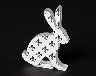 Fleur De Lys Hare Glass Sculpture