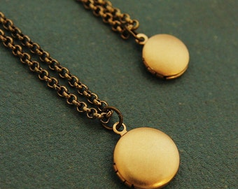 Generations - Mother and Daughter Matching Locket Necklaces - Two Teeny Tiny Matte Gold Lockets