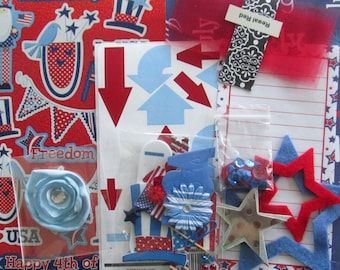 Red White and Blue 12x12 Scrapbook Paper Crafting Kit, Disney, Mickey Mouse